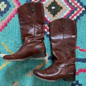 FRYE Melissa Button Brown Leather Boots